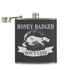 Honey Badger Don't Care vintage print Flasks