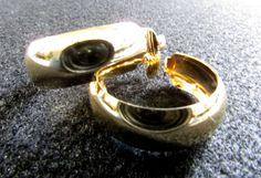 Clip On Hoop Earrings, Wide Hoop Earrings, Vintage Hoop Earrings, Gold Tone Hoop Earrings, Mid Century Medium Hoop Earring, Free US Shipping - pinned by pin4etsy.com