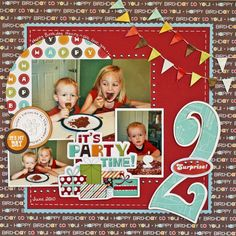 Birthday Good for any age birthday party scrapbook layout Birthday Scrapbook Layouts, Baby Scrapbook Pages, Kids Scrapbook, Scrapbook Sketches, Scrapbook Page Layouts, Scrapbook Paper Crafts, Scrapbook Albums, Scrapbook Cards, Photo Layouts