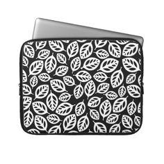 Cute white black leaves design custom laptop sleeve $29.95