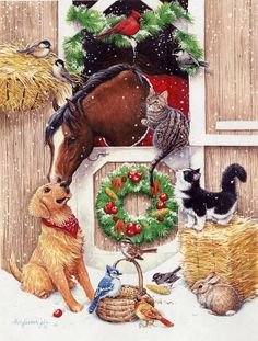 Kathy Goff Xmas - Christmas at the stable Christmas Horses, Cowboy Christmas, Christmas Scenes, Christmas Animals, Christmas Past, Christmas Pictures, Winter Christmas, Christmas Crafts, Christmas Decorations