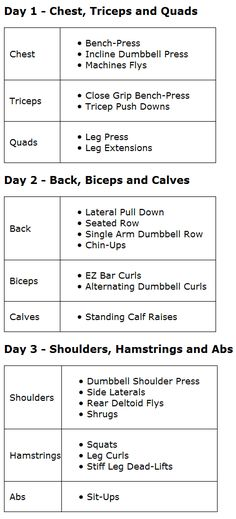 Better Pic of 3 day split. Add it in with everyday cardio and yoga between the weight days. More