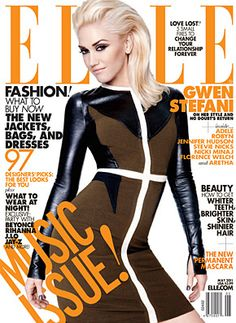 ELLE ~ May Women in Music Issue *Gwen Stefani Black/brown dress Cover* fitness workout-motivation Gwen Stefani Makeup, Gwen Stefani Mode, Gwen Stefani Style, Fashion Magazine Cover, Fashion Cover, Fashion Pics, Fashion Outfits, Celebrity Moms, Celebrity Style