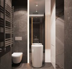 The dark marble bathroom with its pedestal sink certainly strays from the warm color palette but stays within the modern framework.
