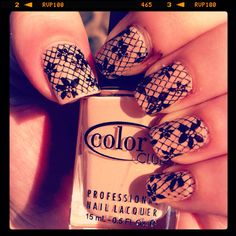 Not sure about black, but cute idea.  Lace nails from emily's nails files
