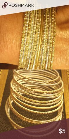 """15 pc Gold Sparkly Bangle Bracelets These are for tiny wrist, or for pre teen, my wrist measure 4"""" around, and yes I'm an adult..lol..thanks for looking Jewelry Bracelets"""