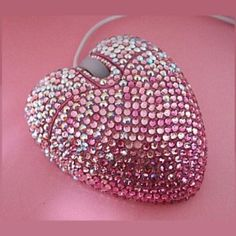 Bling Pink heart shaped Crystal laptop Mouse USB by Crystaljam Pink Love, Pretty In Pink, Hot Pink, Perfect Pink, Bling Bling, Vintage Pink, Glitter Make Up, Sparkles Glitter, Mode Kawaii
