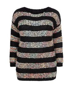 Samya Black Bobble Knit Contrast Stripe Jumper    New Look