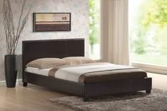 Harmony Bed - Venice Single 3 Foot PU Leather Sprung Slatted Base Bed in Dark Brown