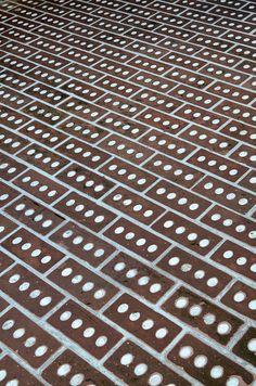 carlo scarpa, architect: casa borgo, contrà del quartiere 8, block of flats, vicenza 1974-1979. detail, exterior brick floor. by seier+seier...