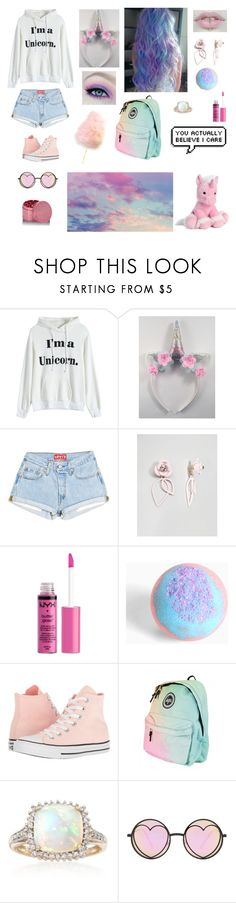 """Cotton candy"" by me1ody ❤ liked on Polyvore featuring ASOS, NYX, Torrid, Converse, Ross-Simons and Betsey Johnson"