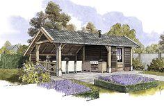 Houten tuinkamer met een pannendak, loungeset en berging. www.bronkhorstbuitenleven.nl