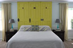 """Great #diy for a #headboard. Blogger used something called """"Chip It"""" which I hope to find. Great #color combo."""