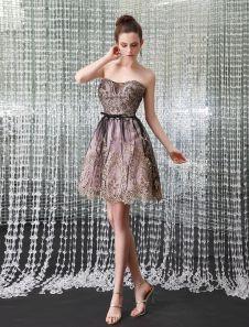 7ed50a1ce Chic Strapless Lace Short Women s Cocktail Dress Milanoo Vestidos De  Cocktail Feminino