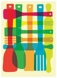 Inspiré de cuisine Art impression Giclee - ustensile Stack moyen - Poster Mid Century Modern Art Print modèle de Plaid