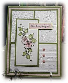 Bloomin' Paper: CASE card ... paneled card with three different embossing folder textures ... white with pink and green mats and adornments ...: