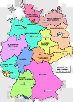 German State Map.  Ancestors from Nordrhein-Westfalen, Hessen, Rheinland-Pfalz, Baden-Württemberg, Bayern.