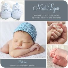 Chic Grid: Boy - Boy Photo Birth Announcements - Hello Little One - Storm - Gray : Front