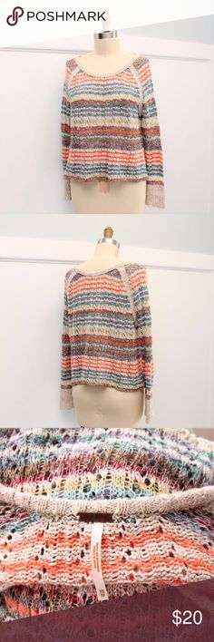 "Free People Loose Knit Cropped Striped Sweater Free People  Loose Knit Cropped Striped Sweater  Sz XS  Cotton Blend Excellent condition Length: 21.5"" Bust: 42"" around Free People Sweaters"