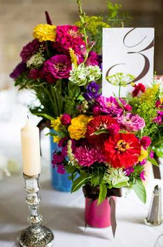 Zinnia and wildflower centerpieces, simple and still very pretty