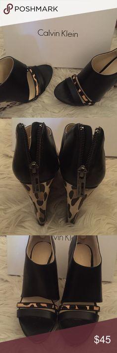 "Calvin Klein wedges Calvin Klein ""Danette Calf/Leopard Print Pon"" Calvin Klein Shoes Wedges"