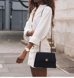 white on white spring and summer fashion; chanel bag