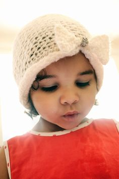 6 to 12m Baby Flapper Hat Crystal Bead Jewel Baby Hat - Vintage Inspired Ivory Lace Crochet Bow Baby Beanie - Baby Wedding Hat. $28.80, via Etsy.