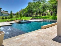 Riverbend Sandler Pools offers Geometric Pool Designs Dallas, Frisco and surrounding areas that homeowners can be proud of. Small Backyard Pools, Swimming Pools Backyard, Swimming Pool Designs, Swimming Pool Waterfall, Swimming Holes, Rectangle Pool, Pool Builders, My Pool, Beautiful Pools