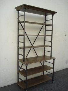 Furniture: Mecox Gardens - Aged Oak and Iron Frame Bookcase Detail