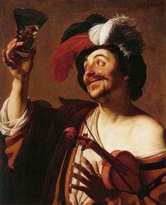 Gerrit van HONTHORST  [Dutch Baroque Era Painter, ca.1590-1656] The Happy Violinist with a Glass of Winec. 1624Oil on canvas, 83 x 68 cmMuseo Thyssen-Bornemisza, Madrid
