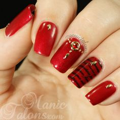 Sultry and studded red mani