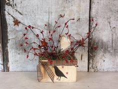 Primitive Country Crow onTin,Crow and Stars,Country Decor,Primitive Decor,PrimitiveCrow,Country Tin,Rustic Decor,Pip Berries,Stars by FlatHillGoods on Etsy
