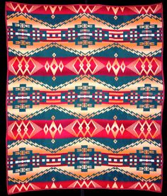 In the history of blanket design theft, here is your all-time winner! This is the only pattern made by three companies - Beacon in cotton and Oregon City and Pendleton in wool - and nobody knows who made it first. This is the Beacon version.