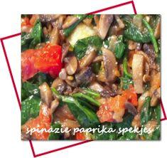 Spinazie-roerbakken-met-spekjes, paprika, champignons, ui  odigdheden (4 personen)  600 gram spinazie 2 rode paprika's 200 gram spekjes 2 uien Bakje champignons Pijnboompitjes Peper/zout
