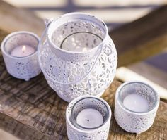 Lace Tea Lights White - Our Products Tea Lights, Candle Holders, Artsy, Candles, Lace, Tableware, Beautiful Things, Products, Dinnerware