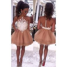 Cute A-Line Tulle Sleeveless Short Homecoming/Prom Dress with White... ($129) ❤ liked on Polyvore featuring dresses, white cocktail dress, short homecoming dresses, lace homecoming dresses, short white dresses and lace cocktail dresses