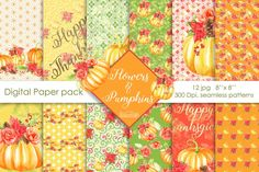 by Sweetdesignfactory on Lemon Watercolor, Watercolor Flowers, Diy Gift Wrapper, Packs Papier, Thanksgiving Flowers, Fall Patterns, Graphic Patterns, Pumpkin Printable, Christmas Stationery