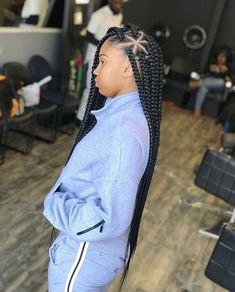 Top 60 All the Rage Looks with Long Box Braids - Hairstyles Trends Black Girl Braids, Braided Hairstyles For Black Women, African Braids Hairstyles, Braids For Black Hair, Girls Braids, Weave Hairstyles, Medium Hair Braids, Protective Hairstyles, Baddie Hairstyles