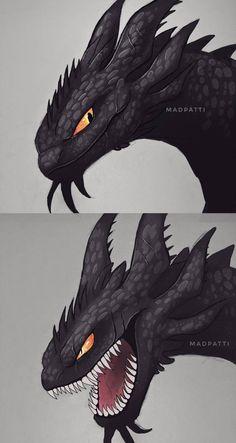 It looks like a nightfury - Drachen - Mythical Creatures Art, Fantasy Creatures, Fantasy Dragon, Fantasy Art, Composition Photo, Night Fury Dragon, Httyd Dragons, Dragon Artwork, Dragon Rider