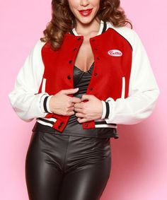 Another great find on #zulily! Red & Off-White Bettie Letterman's Jacket #zulilyfinds