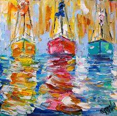 Original Boats oil painting by artist Karen Tarlton.  Painted on gallery wrapped canvas in impasto oil technique with palette knife. Title: Three