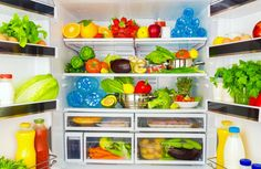 Open fridge full of fresh fruits and vegetables, healthy food background, organic nutrition, health care, dieting concept - stock photo Fee Du Logis, Used Tea Bags, Alka Seltzer, Fridge Organization, Professional Kitchen, Food Backgrounds, Fresh Fruits And Vegetables, Natural Home Remedies, Kitchen Items