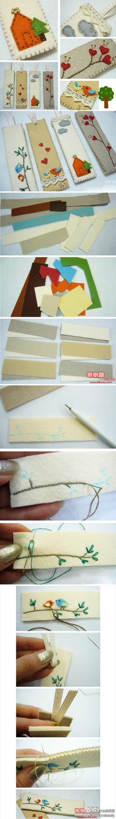 DIY hand-stitched bookmarks (Chinese site) - Very cute. I think there are some good ideas here for embellishing clothing.