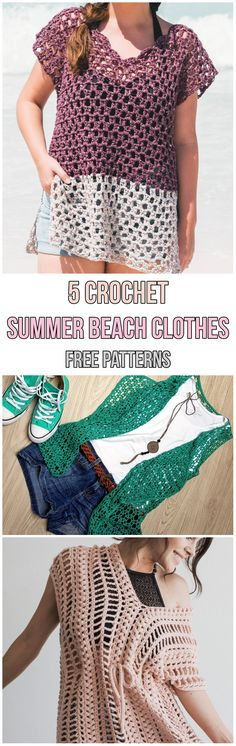 5 Crochet Summer Beach Clothes Free Patterns #diy #diyproject #handmade #howto #homemade #crochet #crocheting #crochetpattern #swimsuit #swimmingpool #summer #summerstyle #freepattern #cover #easy #yarn #top #beachwear #beachlife #beachday #beach #ideas #hook #green #pink