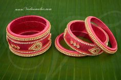 Trendz Jewels Silk Thread Bangle Pink Color set of 6 pieces Buy Now Silk Thread Earrings, Thread Jewellery, Bangles Making, Bangle Set, Pink Color, Earring Set, Studs, Jewelry Design, Jewels