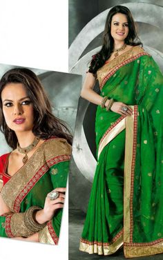 GREEN & RED JACQUARD NET LATEST SAREE - VAL 5316