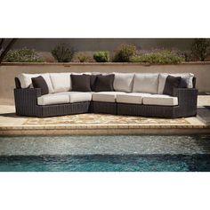 Sunset West Cardiff Aluminum Sectional Sofa with Cushion | from hayneedle.com