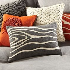 Love the braided ones in the back Felt Cushion, Felt Pillow, Pillow Room, Grey Pillows, Accent Pillows, Throw Pillows, Textiles, Cushion Covers, Pillow Covers