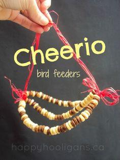 5 Flowers, 4 Stories, 3 Cheers for Animals Leadership Journey -  Cheerios bird feeders - easy bird feeders for kids