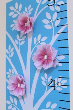 Growth Chart Bling Tree Pink Flower OHSC by onehipstickerchic, $39.95  Cute!